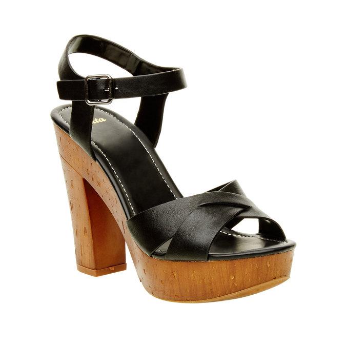 Sandály na masivním podpatku bata, černá, 761-6500 - 13