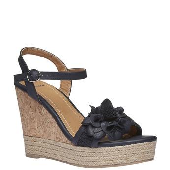 Sandály na platformě s kytičkou bata, černá, 761-6529 - 13
