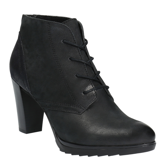 Kožená kotníčková obuv na podpatku bata, černá, 796-6602 - 13