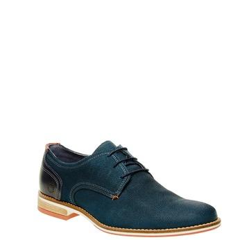 Kožené polobotky s barevnou podešví bata, modrá, 826-9300 - 13