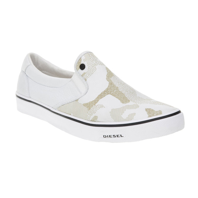 Světlé pánské Slip on boty diesel, bílá, 884-1230 - 13