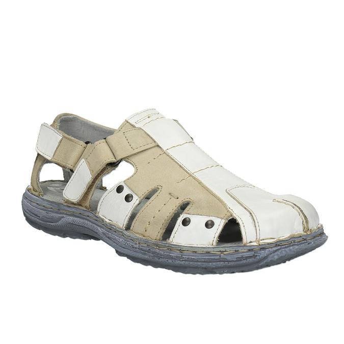 Pánské kožené sandály bata, bílá, 856-1300 - 13