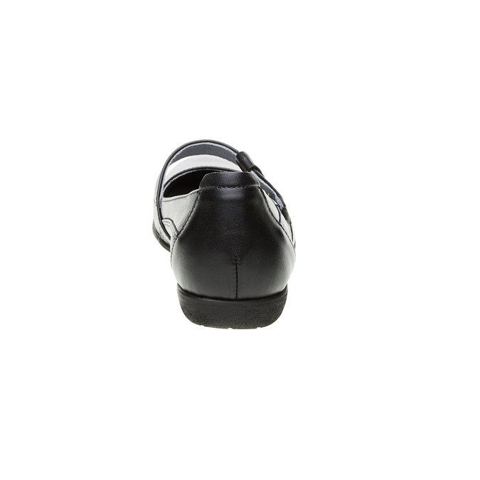 Kožené baleríny s páskem přes nárt bata, černá, 524-6497 - 17