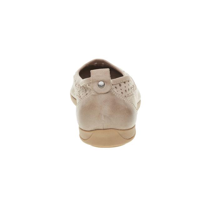 Kožené baleríny s perforací bata, béžová, 526-8496 - 17