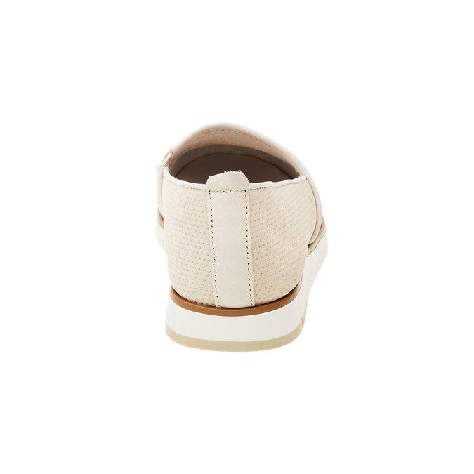 Kožené Slip-on boty s perforací flexible, béžová, 513-8200 - 17