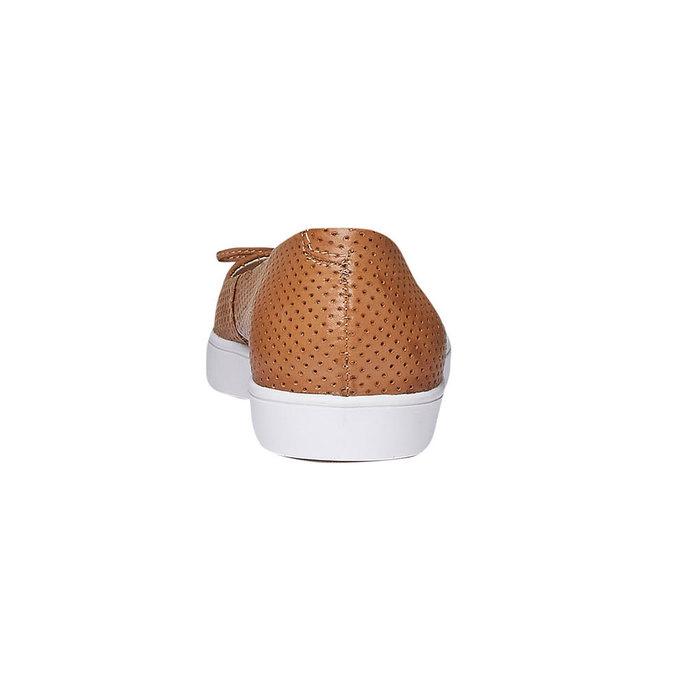 Kožené baleríny s perforací bata, hnědá, 524-3490 - 17