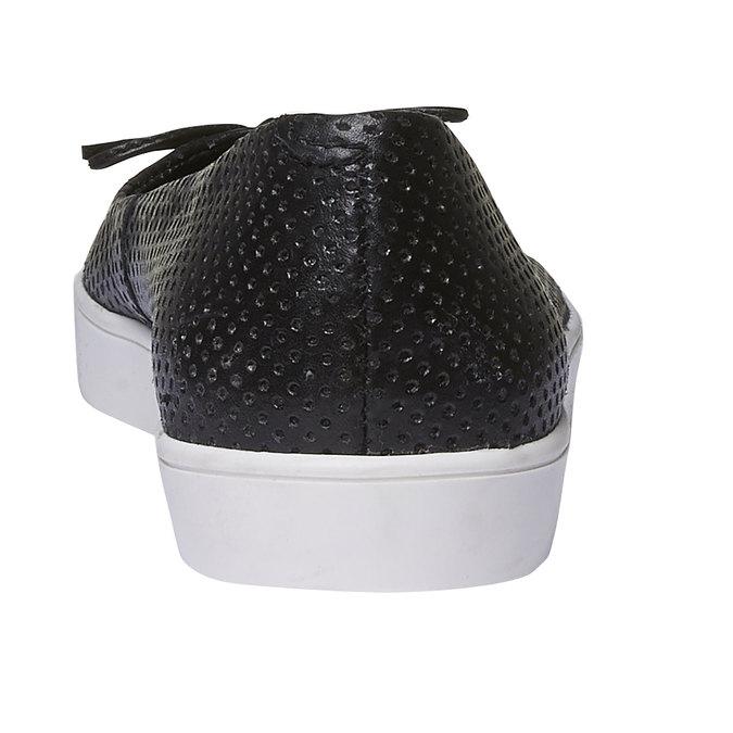Kožené baleríny s perforací bata, černá, 524-6490 - 17