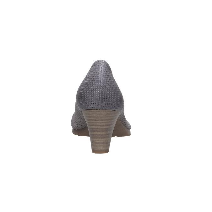 Kožené lodičky s perforací bata, šedá, 624-2389 - 17