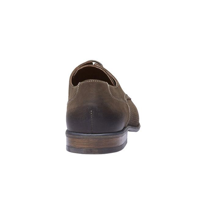 Pánské kožené polobotky s perforací bata, hnědá, 826-4832 - 17