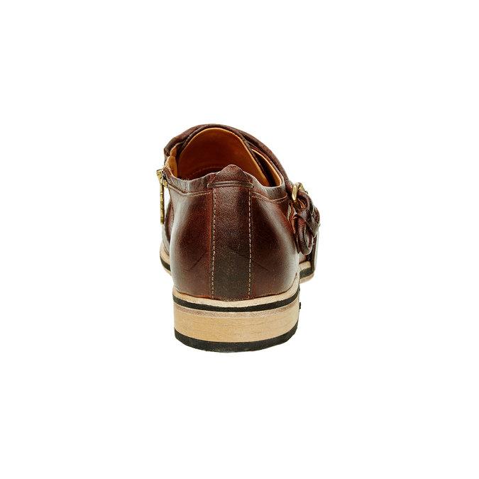 Pánská kožená obuv ve stylu Monk a-s-98, hnědá, 826-7001 - 17