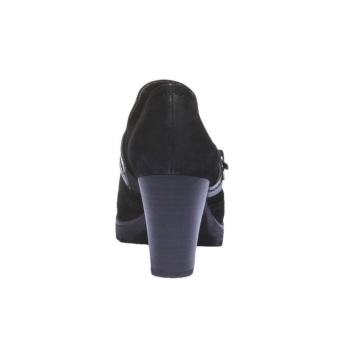 Kožená kotníčková obuv na podpatku bata, černá, 696-6102 - 17