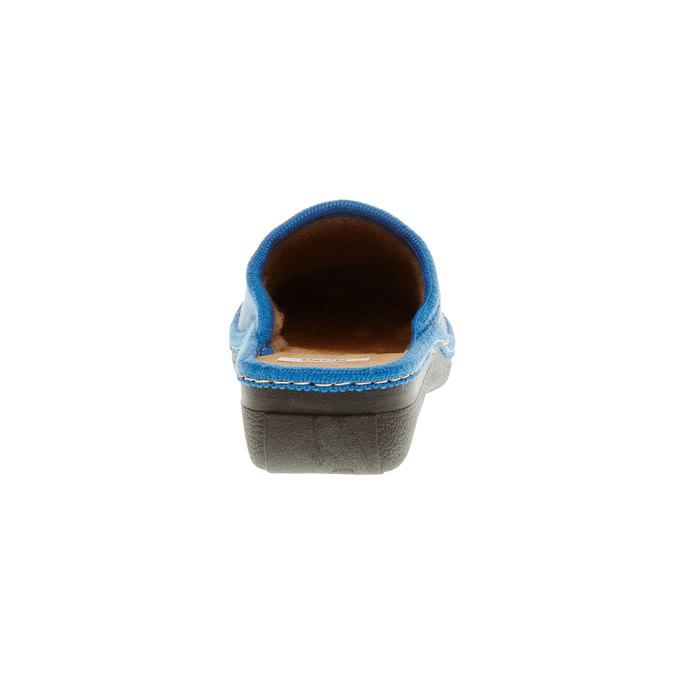 Dámské pantofle s výšivkou bata, modrá, 579-9234 - 17