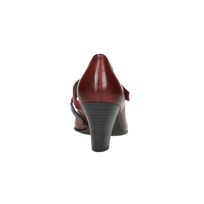 Kožené lodičky s páskem přes nárt bata, červená, 626-5604 - 17