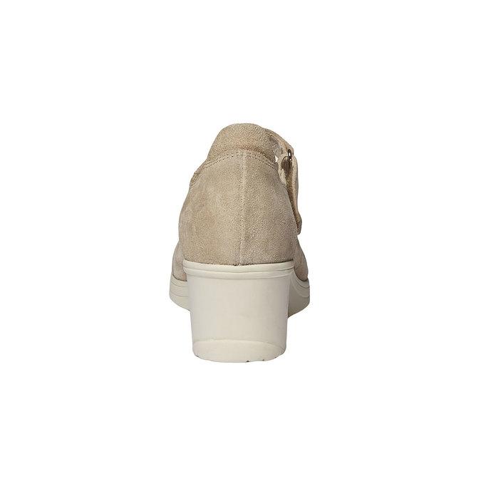 Kožené lodičky na klínovém podpatku bata-touch-me, béžová, 623-8392 - 17