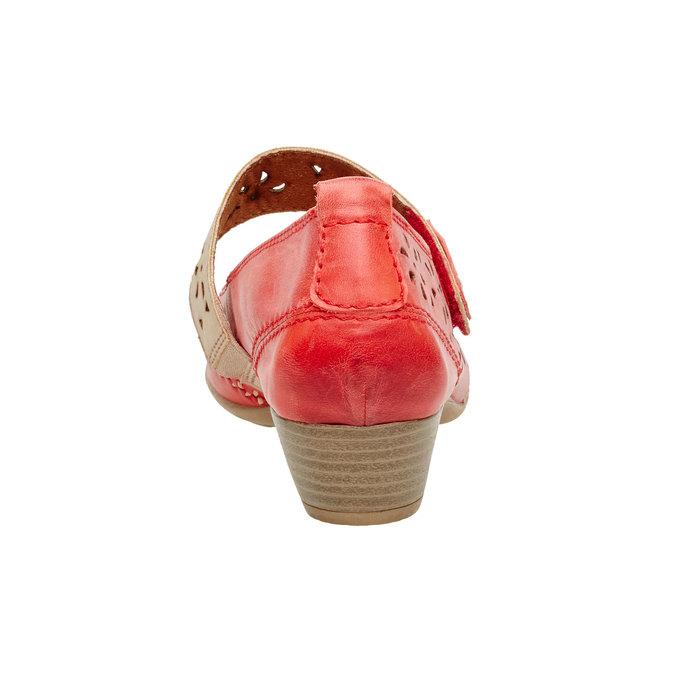 Kožené lodičky s páskem bata, červená, 624-5103 - 17