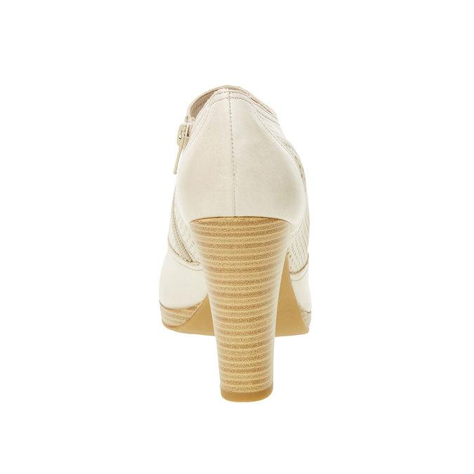 Kožené polobotky na podpatku bata, bílá, 724-8932 - 17