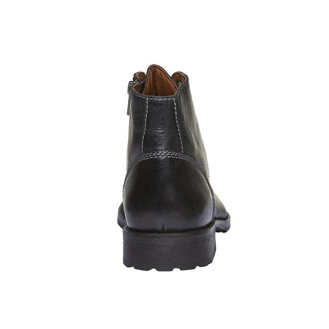 Kožené kotníkové boty s výrazným prošitím bata, černá, 894-6125 - 17
