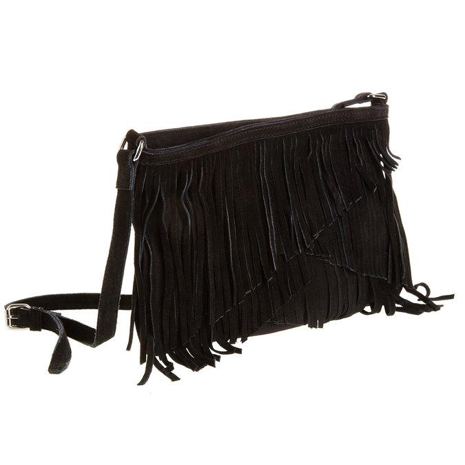 Kožená Crossbody kabelka s třásněmi bata, černá, 963-6120 - 13