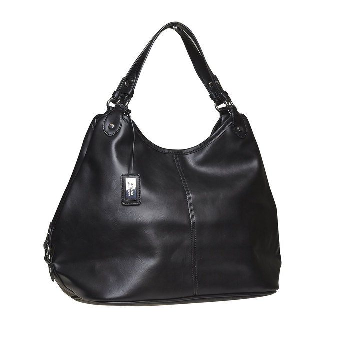 Kabelka v Hobo bag stylu bata, černá, 961-6185 - 13