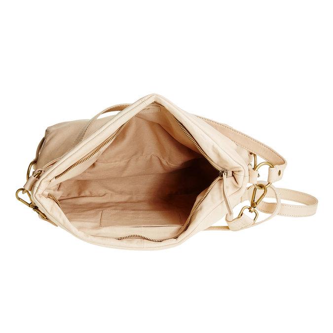 Kožená kabelka s popruhem bata, béžová, 964-1187 - 15