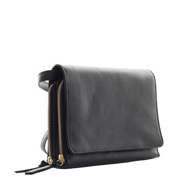 Kožená Crossbody kabelka se zlatými zipy royal-republiq, černá, 964-6192 - 13