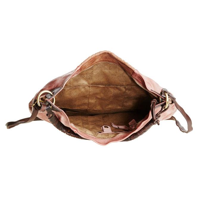 Kožená kabelka s řemínky a-s-98, růžová, 966-5002 - 15