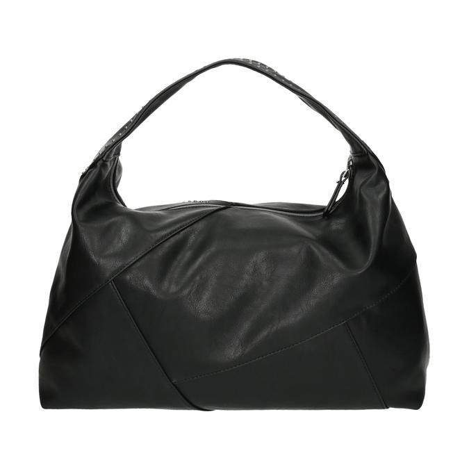 Kabelka v Hobo stylu s kovovou aplikací bata, černá, 961-6854 - 26