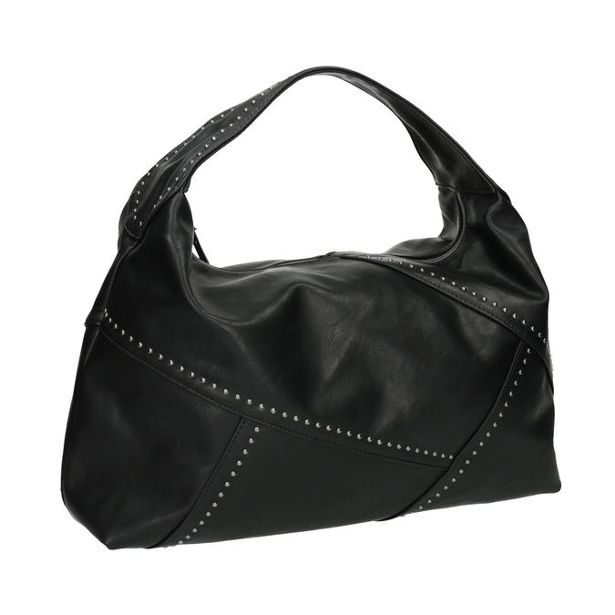 Kabelka v Hobo stylu s kovovou aplikací bata, černá, 961-6854 - 13