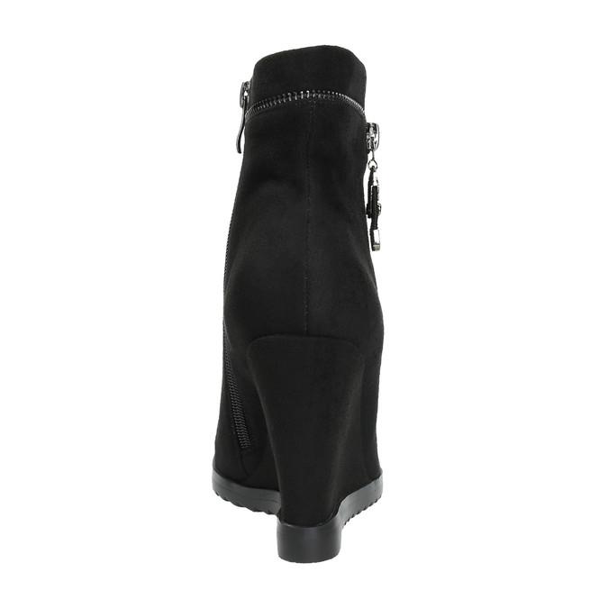 Dámská kotníčková obuv na klínovém podpatku bata, černá, 799-6631 - 17