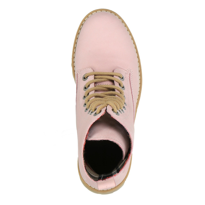 Kožená šněrovací obuv na průhledné podešvi weinbrenner, růžová, 596-5639 - 19