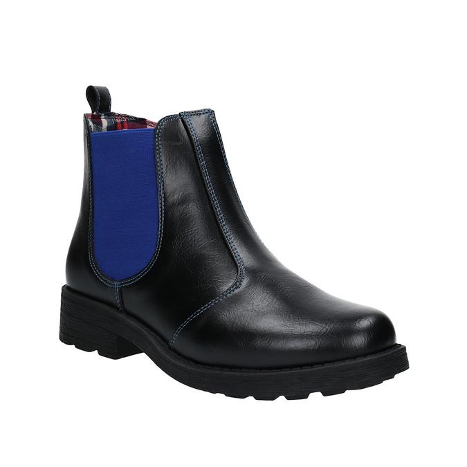 Dětská kotníčková obuv s pružným bokem mini-b, černá, 321-9602 - 13