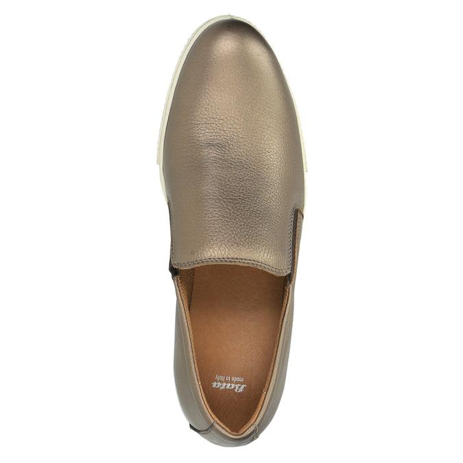 Kožené Slip-on na široké podešvi bata, hnědá, 526-4605 - 19