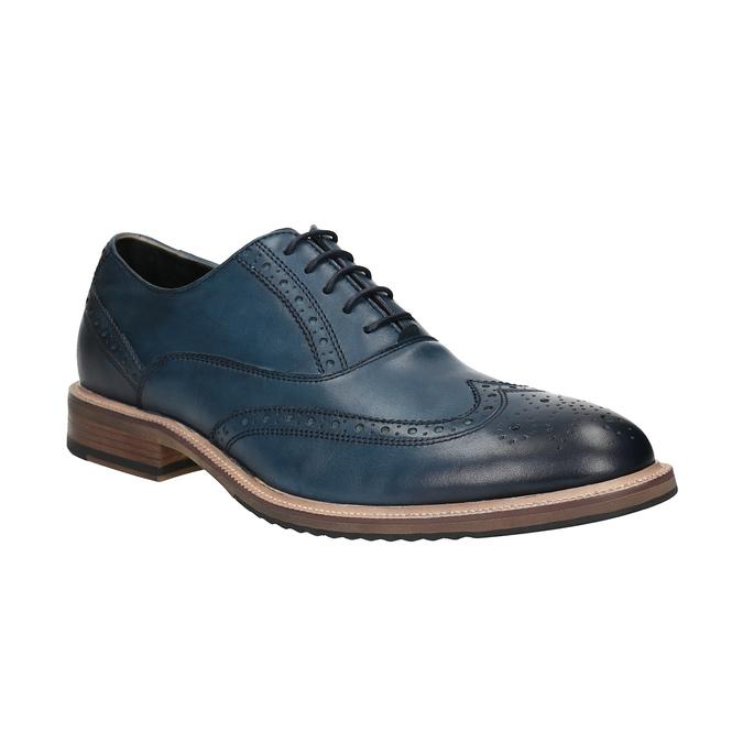 Kožené Oxfordky s Brogue zdobením bata, modrá, 826-9647 - 13
