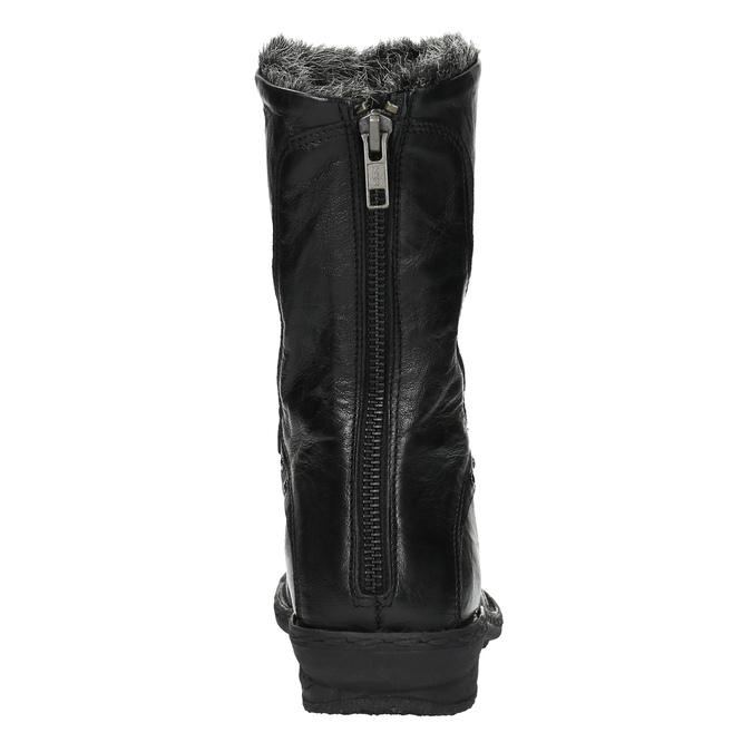 Kožená kotníčková obuv se zateplením bata, černá, 596-6624 - 17