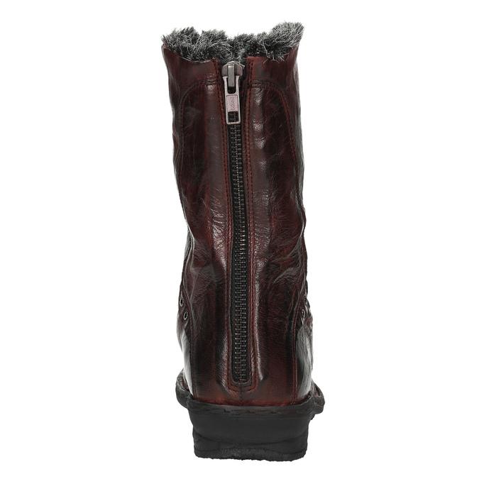 Dámská kožená obuv se zateplením bata, červená, 596-5624 - 17
