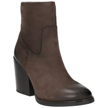 Kožená kotníčková obuv na masivním podpatku bata, hnědá, 696-4612 - 13