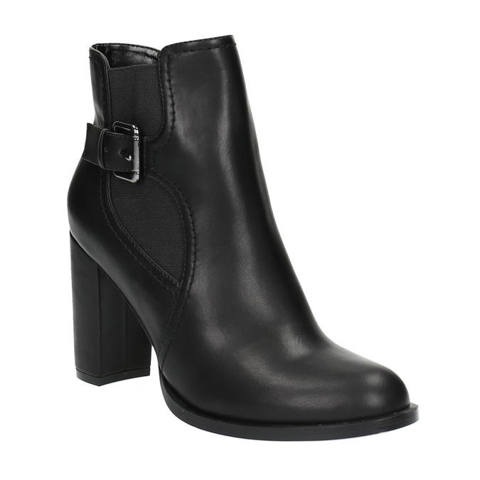 Kotníčková obuv na podpatku s přezkou bata, černá, 791-6610 - 13