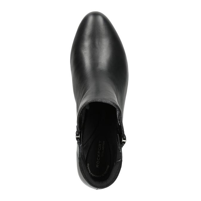 Kožená kotníčková obuv na klínovém podpatku rockport, černá, 614-6003 - 19