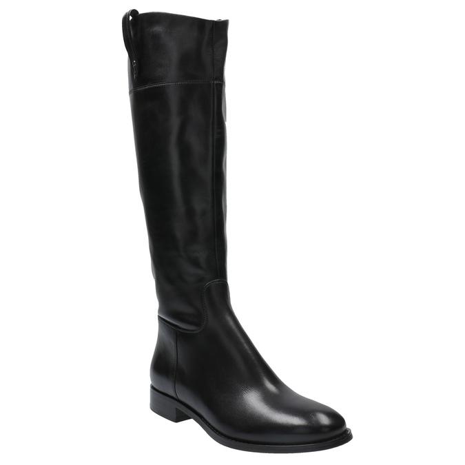 Kožené kozačky s výrazným zipem bata, černá, 596-6631 - 13
