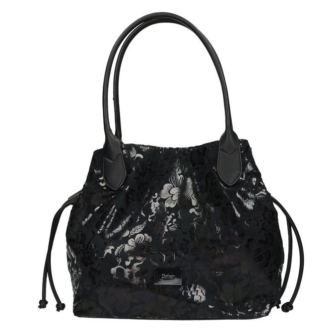 Černá kabelka s květinovým vzorem gabor-bags, černá, 961-6008 - 26