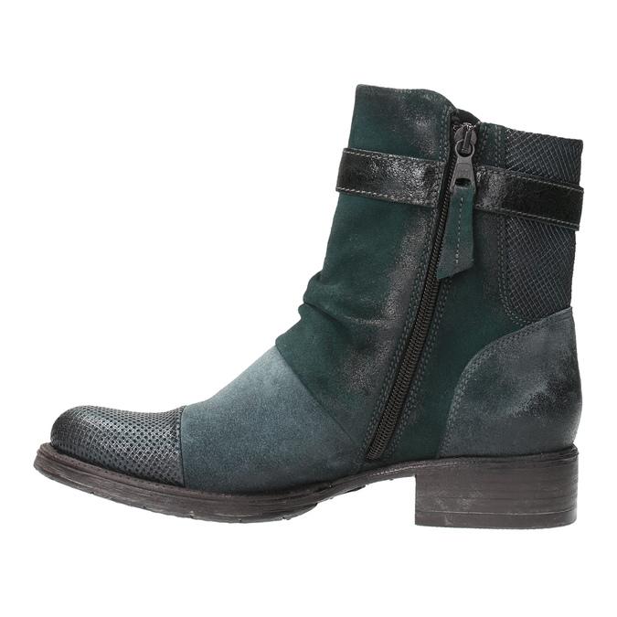 Kožená kotníčková obuv se stříbrnými detaily bata, tyrkysová, 596-9614 - 26