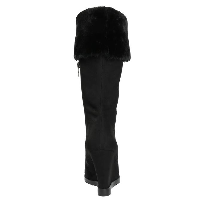 Kozačky na klínovém podpatku s chlupatým lemem bata, černá, 799-6630 - 17