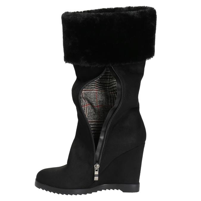 Kozačky na klínovém podpatku s chlupatým lemem bata, černá, 799-6630 - 19