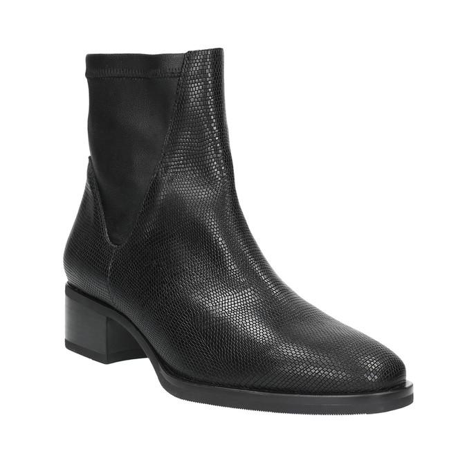 Kožená kotníčková obuv se vzorem bata, černá, 596-6621 - 13