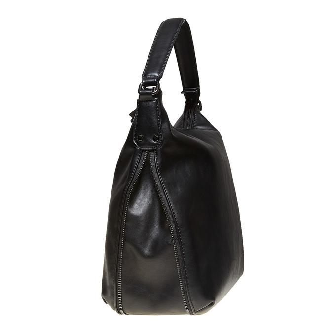 Kabelka v Hobo stylu s detailem zipu bata, černá, 961-6609 - 17