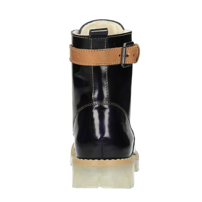 Kožená kotníčková obuv na průhledné podešvi weinbrenner, černá, 598-6602 - 17