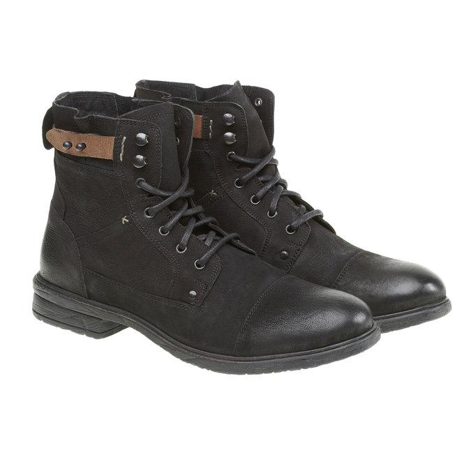 Kožené kotníkové boty bata, černá, 894-6165 - 26