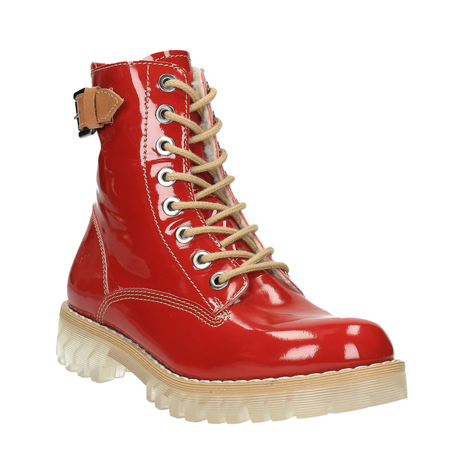 Kožená kotníčková obuv na průhledné podešvi weinbrenner, červená, 598-5602 - 13