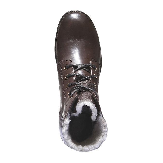 Kožené šněrovací boty se zateplením bata, hnědá, 694-4100 - 19