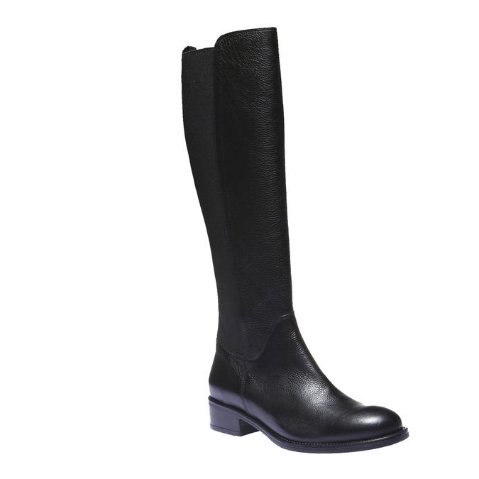 Kožené kozačky na nízkém podpatku bata, černá, 596-6101 - 13
